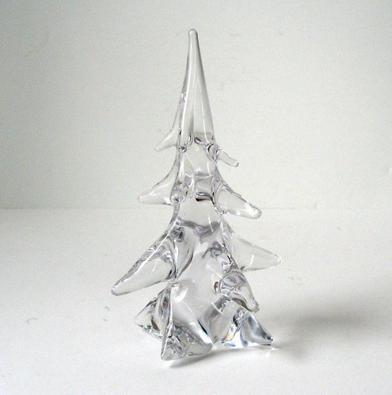 Vintage schneider france clear crystal christmas tree in