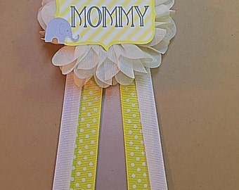gray elephant baby shower pin mommy to be pin flower ribbon pin