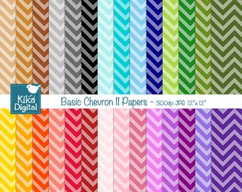 Basic Chevron II Digital Papers - Scrapbooking Paper - card design, invittations, paper crafts, web design - INSTANT DOWNLOAD