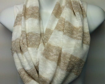 White and gold striped sweater knit infinity scarf