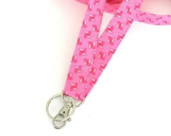 Geometric Lanyard Keys Holder, Pink Id Badge Lanyard Split Key Ring Teacher Gift, Nurse Lanyard