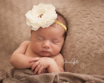 GOLD SPARKLE Ivory Headband, Ivory Flower Headband, Baby Headband, Newborn Photo Prop, Newborn Headband, Ranunculus Ivory Flower Headband