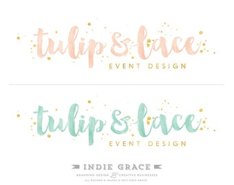 Custom PreDesigned / Hand Painted Watercolor & Gold Foil premade logo design - photography or boutique logo