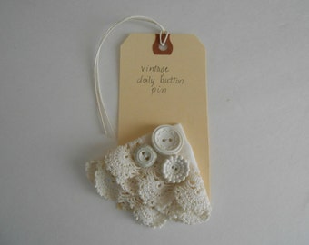 vintage lace and button pin white