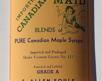 Early Vintage 1950s Sugar and Maple Syrup Bottle Paper Label S. Allen Soule Fairfield Vermont All Original Very Rare