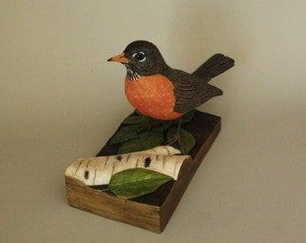 Robin Bird Woodcarving Hand Carved Songbird Wood Sculpture Collectible Wooden Bird Art or Bird Figurines Gift for The Bird Watcher