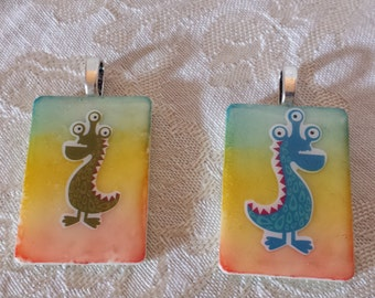 Choice of altered art alcohol ink dyed monster Rummikub Game Piece Pendant Necklace
