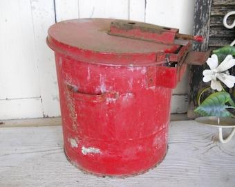 Vintage 1930s Mid Century Modern Industrial Machine Age Red Steel Metal Waste Basket Trash Can Rustic Primitive Planter Farmhouse Workshop