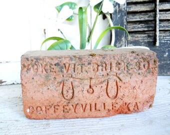 Antique Architectural Rare Ox Yoke 1900 Script Brick Paver Coffeville Kansas Yoke Vit Brick Co Victorian Farmhouse Garden Clay TerraCotta