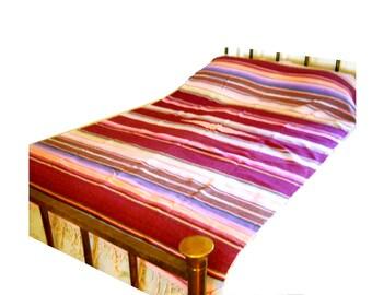 Vintage Southwestern Mexican Tribal Saltillo Fine Cotton Sarape Shawl Blanket Bedspread Coverlet Farmhouse Bed Spread Tablecloth