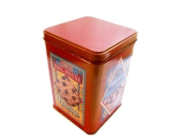 Vintage Industrial Nestle Toll House Original Cookie Tin Lithograph Red Blue Advertising Box Rustic Primitive Farmhouse Kitchen Storage Box