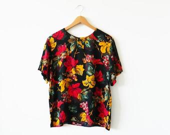 Vintage Grapevine Floral Blouse / Boxy Vintage Floral Top / Bold Floral Blouse