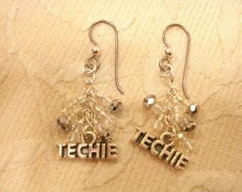 Techie Sterling Silver Charm Earrings