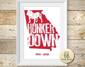8x10 INSTANT DOWNLOAD // Hunker Down State Print // University of Georgia Wall Art // State Print // Georgia Bulldogs