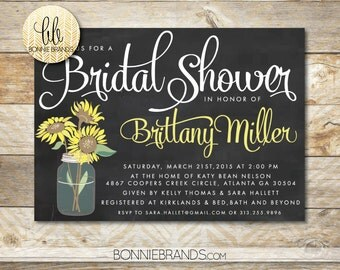 Bridal Shower Invitation // Sunflowers in Mason Jar  // Yellow, Chalkboard