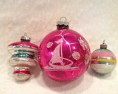 Set of Three Vintage Shiny Brite Ornaments Merry Christmas 50s 60s