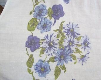 Vintage Linen Tablecloth - Violet and Indigo Floral Pattern
