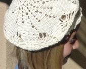 White Beret for Girl, hat for girl, handcrochet white hat