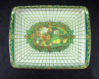 Sale - Small tin tray, vintage ornate white and green enameled decorative tin tray, flowers and fruit still life illustration by Daher