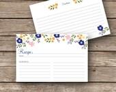 Printable Recipe Cards - 4x6 - Flower Garden