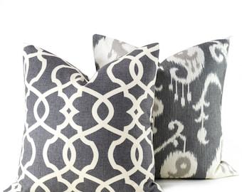 GRAY PILLOW,Grey Pillow covers, ikat Pillow.Dark Gray Pillow.Grey Ikat pillow.Gray Pillow Cover Housewares.Home Decor Set of TWO
