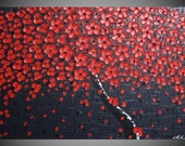Painting Art Paintings Red Cherry Tree abstract Modern wall art decoration Textured art on large canvas 36 x 24 Ready to Hang by ilonka