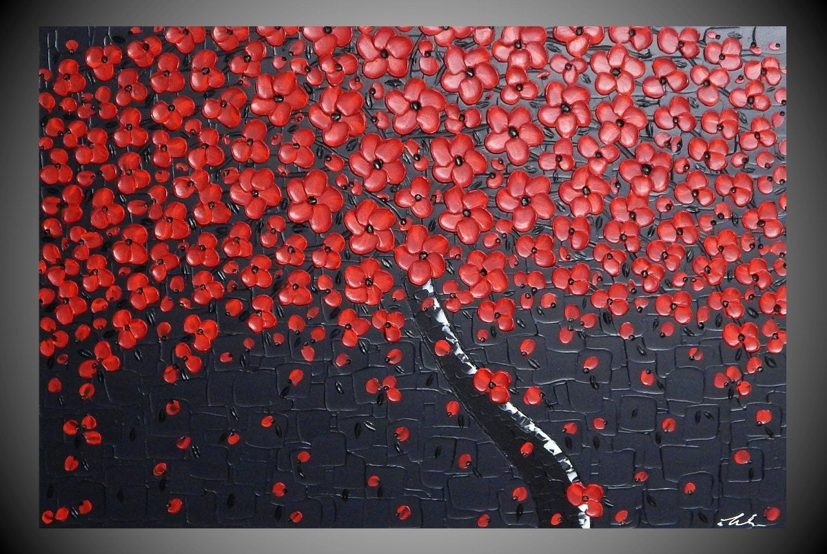 Painting art paintings red cherry tree abstract modern wall - Peinture noir et rouge ...
