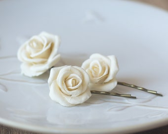 Ivory hair clips - ivory bridal hair flowers - ivory hair accessories - rose flower bobby pins hair clips - rose hair pins - ivory wedding
