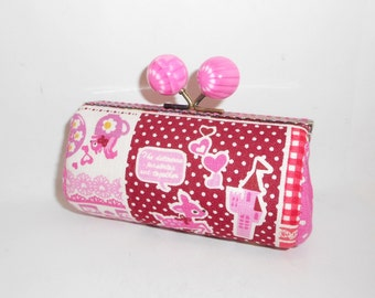 Hot pink red lace castle deer  CASTLE pink dots coin/change pouch/purse/wallet w  metal frame