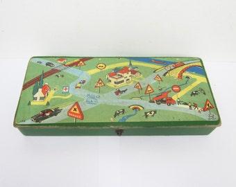 Vintage french pencil school box, 1950s, Plumier, Antique box, Car, Cardboard, France, Ecole, Trousse voiture enfant