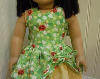 """American girl doll or 18 """" doll lady bug print dress"""