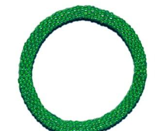 Neon Green Crocheted Beaded Bracelet, Seed Beads,Nepal,NB51