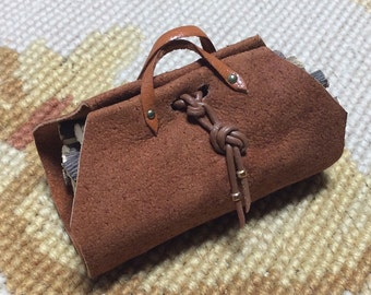 Log Carrier - by Pat Tyler Leather Dollhouse Miniatures
