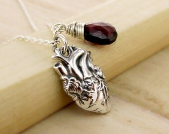 Anatomically Correct Heart Necklace - Gemstone Birthstone - Mechanical Heart - Sterling Real Life Heart - Human Heart Jewelry Organ