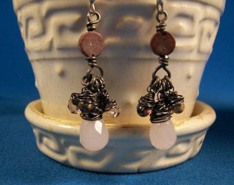 Jasper, pink glass,chandelier earring wired wrapped with dark annealed steel