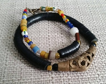 African Trade Bead Bracelet Stack