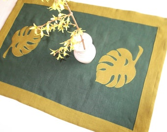 Small linen tablecloth washed green linen table topper table runner with monster leaves