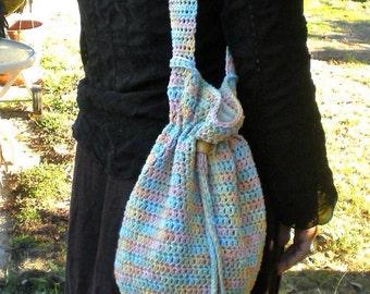 Boho Chic Crochet Bag Purse Over The Shoulder Bohemian Gather Bag 100% Cotton