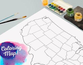 United States Blank Coloring  Print Poster - Outline United States Map - Travel map - Wall Hanging - Large - Medium Size