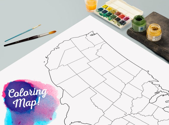 United States Blank Coloring Print Poster Outline United - Map of the us poster size