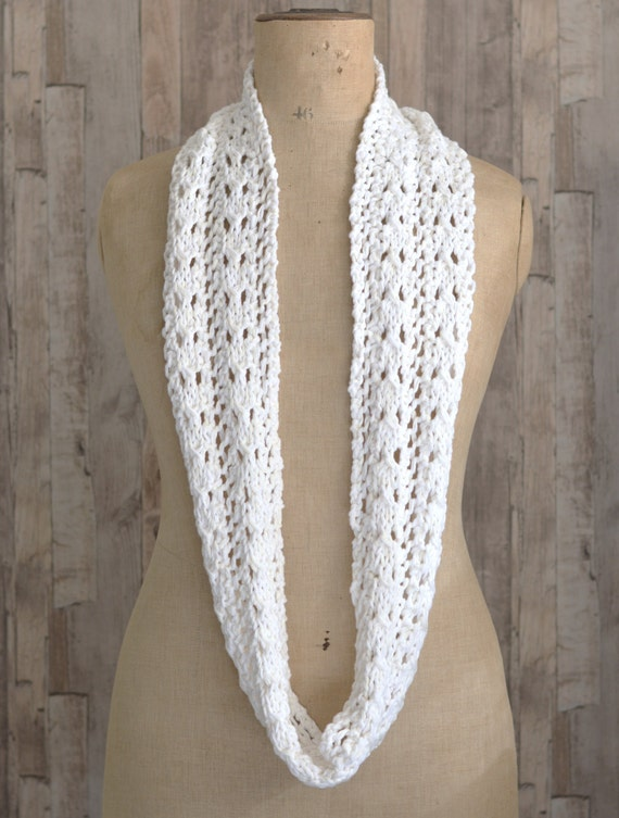 Knitting Pattern Lace Infinity Scarf : KNITTING PATTERN Lace Scarf Simple Knit Pattern Infinity ...