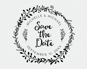 Save The Date Stamp, Wedding Favors Stamp, Self Inking Stamp, Rubber Stamp, Circle Stamp, Personalized Save The Date Stamp, Custom (T236)