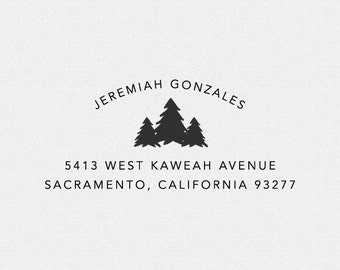 Custom Return Address Stamp, Self Inking Stamp, Rubber Stamp, Personalized Return Address Stamp, Stamp for Address Labels, Trees (T22)