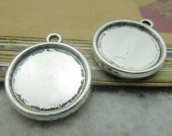 30PCS antique silver 16mm pendant trays round bezel cabochon mountings- XC6555