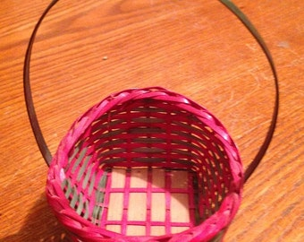 Small Red &  Green Wicker Basket
