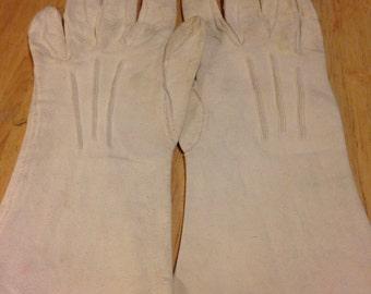 White Suede Kid Gloves