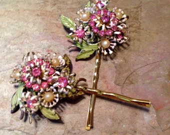 Decorative Hair Pins Pastel Pink White Enamel Austrian 50's Bobby Pins