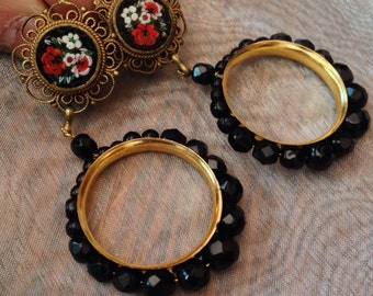Black Red Rose Mosaic Mosaic Hoop Earrings Czech Jet Glass Beads