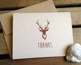 Personalized cards - CUSTOM - Deer Antlers - Stationery - Recycled  - Eco - Thank You - Any Occasion - Set of 8 Notecards - Gift