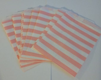 "25 Paper Treat Bags Light Pink Stripes 5 ""x 7""  - Snack Bags  - Gift Goody Bag - Birthday Party - Baby Girl Shower - Utensil Baggy - Popcorn"